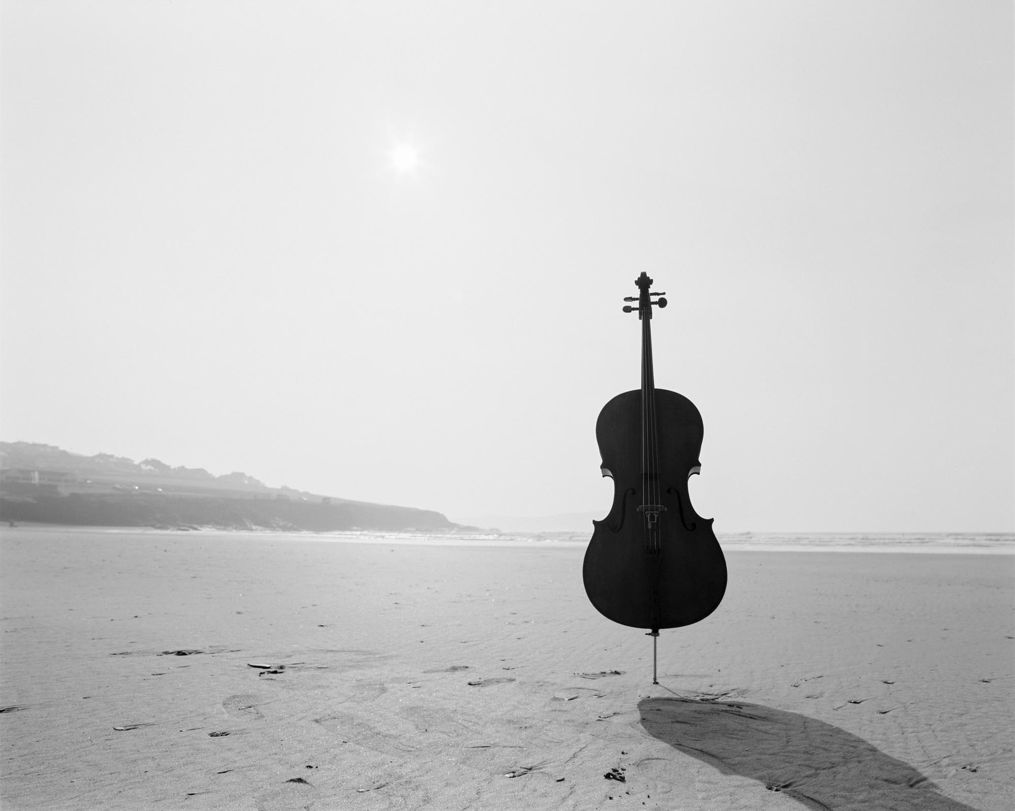 Cello on the beach in Cornwall, Jay Emme Photography